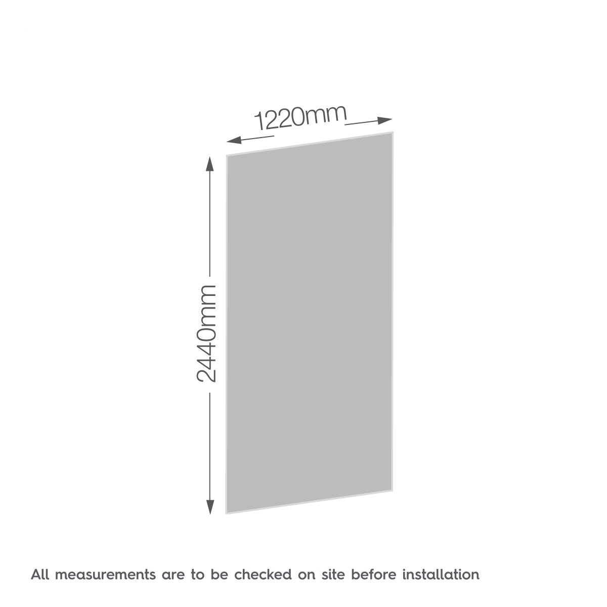 Dimensions for Zenolite plus jet acrylic shower wall panel 2440 x 1220