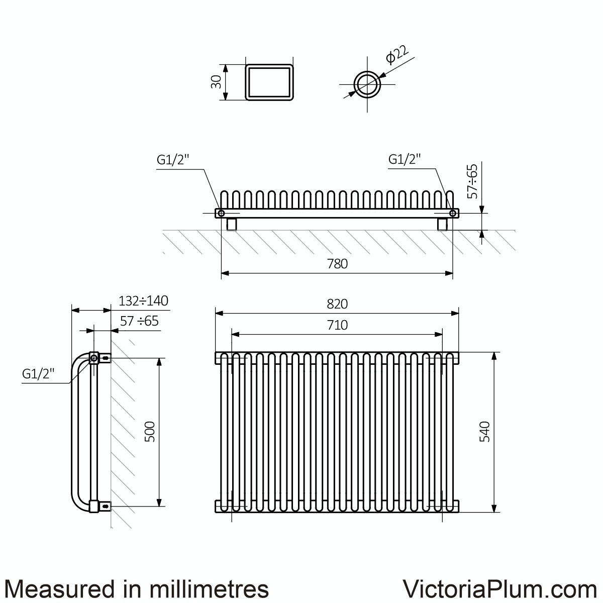 Dimensions for Terma Delfin soft white horizontal radiator 540 x 820