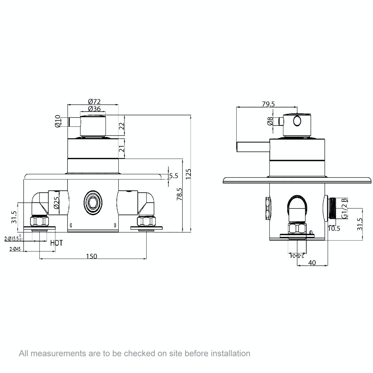 Dimensions for Dulwich exposed thermostatic shower valve