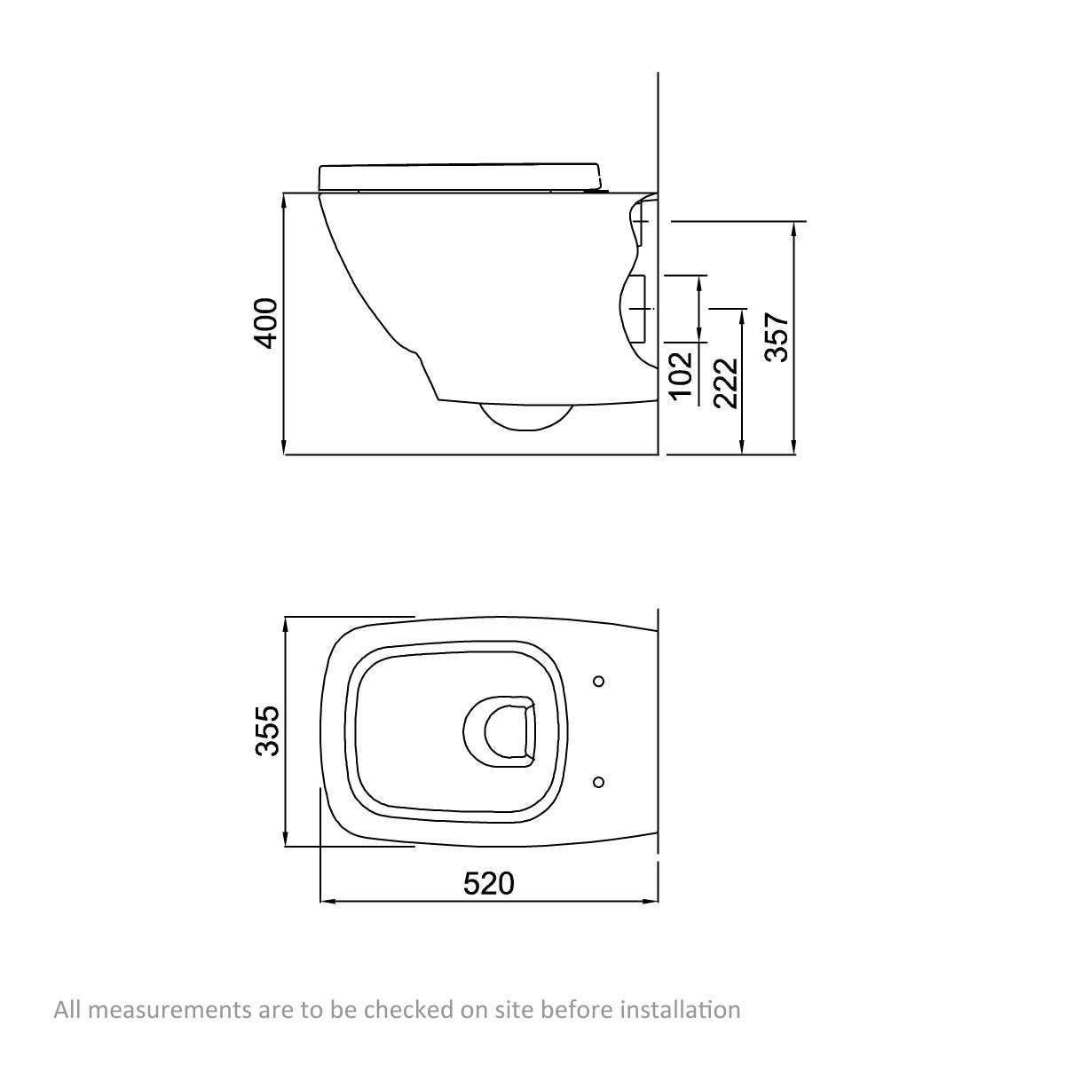 Dimensions for Mode Cooper wall hung toilet with soft close seat