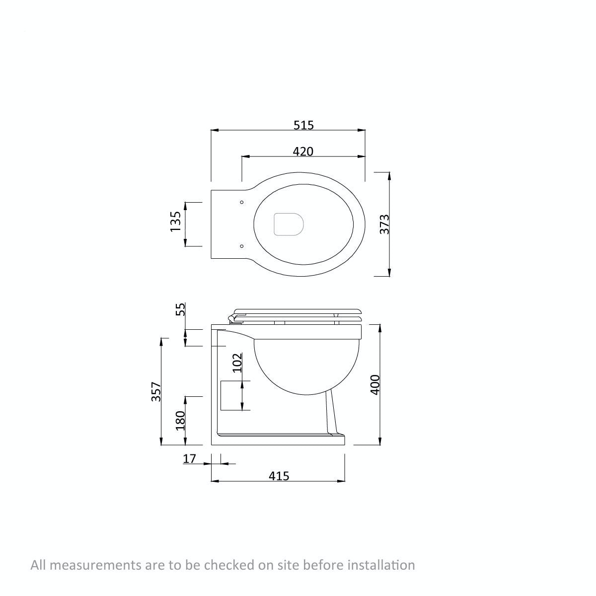 Dimensions for The Bath Co. Dulwich back to wall toilet with oak effect wooden soft close seat