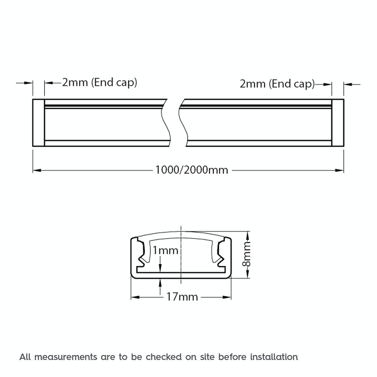 Dimensions for Mode Surface mounted aluminium profile 2m