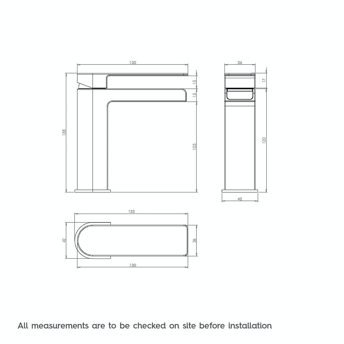 Dimensions for Mode Cooper basin mixer tap