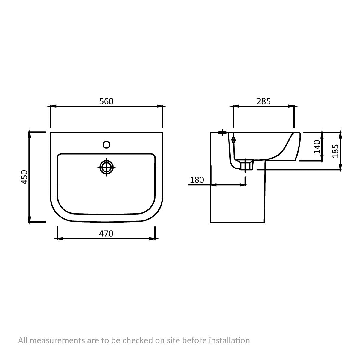 Dimensions for Mode Ellis 1 tap hole semi pedestal basin 560mm
