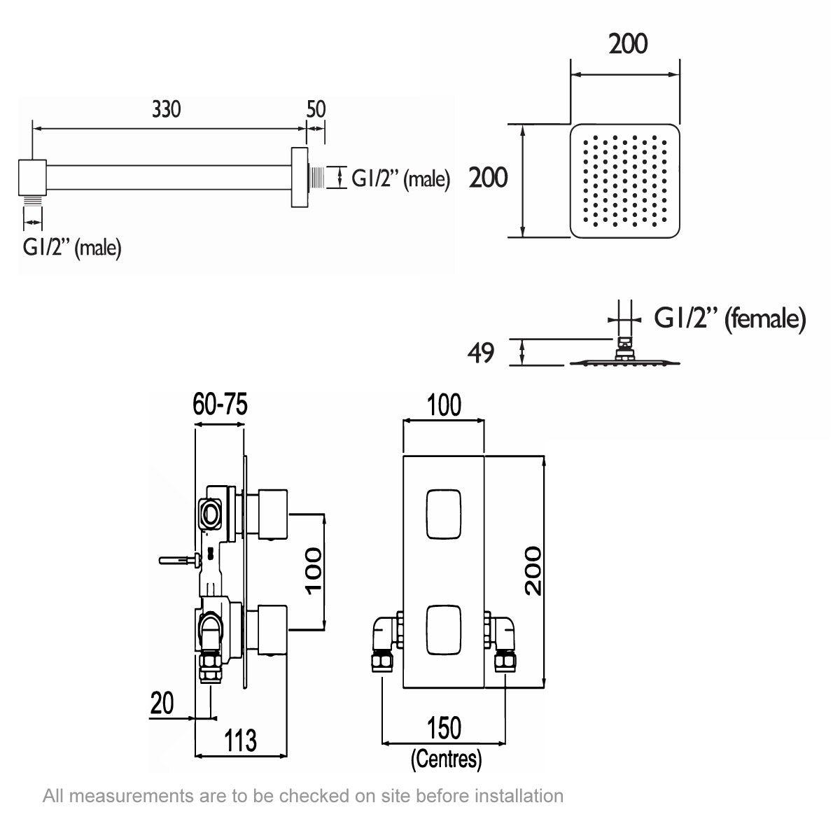 Dimensions for Bristan Cobalt concealed thermostatic shower set