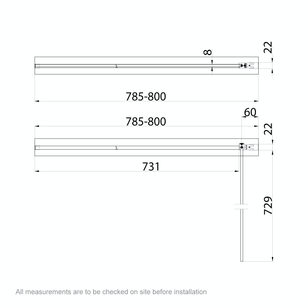 Dimensions for 8mm square top right handed hinged bath screen
