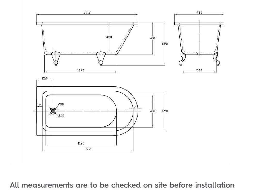 Dimensions for The Bath Co. Dulwich freestanding single ended bath
