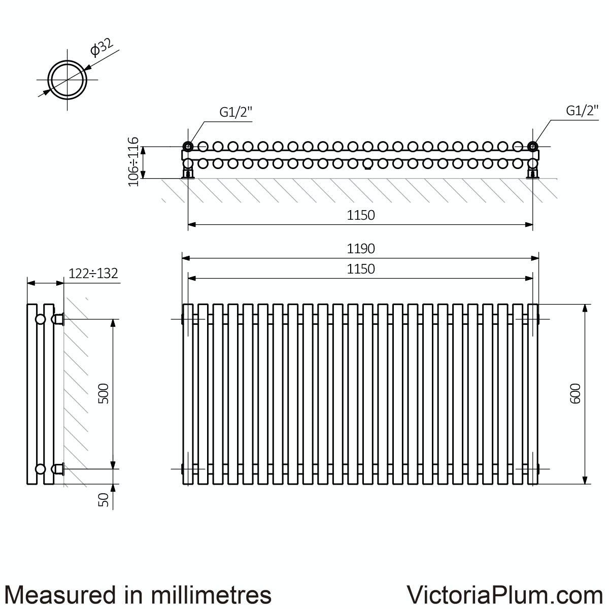 Dimensions for Terma Tune matt nickel double horizontal radiator 600 x 1190