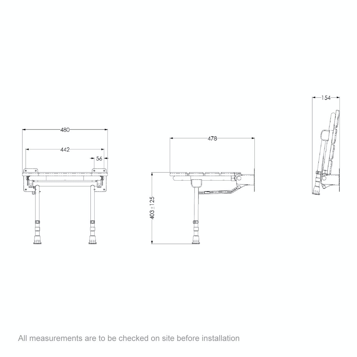 Dimensions for AKW Wooden folding shower seat