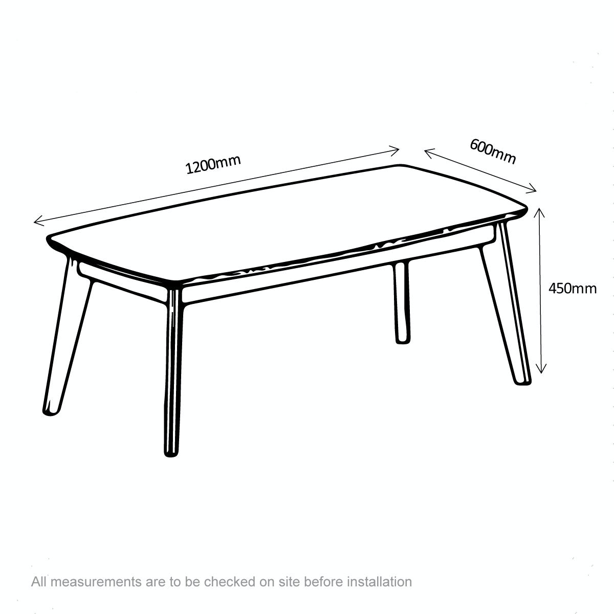 Dimensions for Archer coffee table