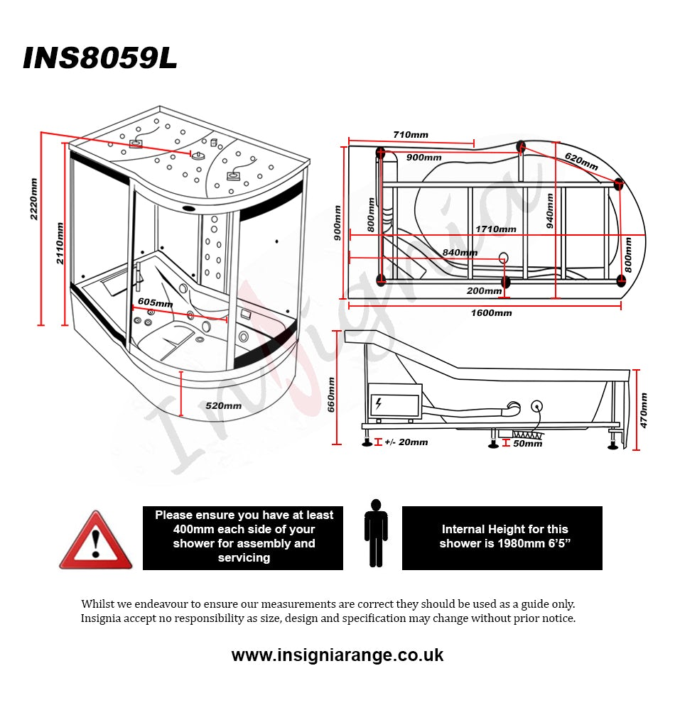 Dimensions for Insignia left handed offset quadrant steam shower bath cabin 1700 x 900
