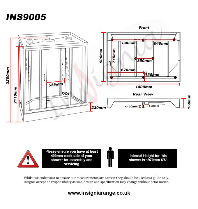 Dimensions for Insignia rectangular steam shower cabin 1400 x 900
