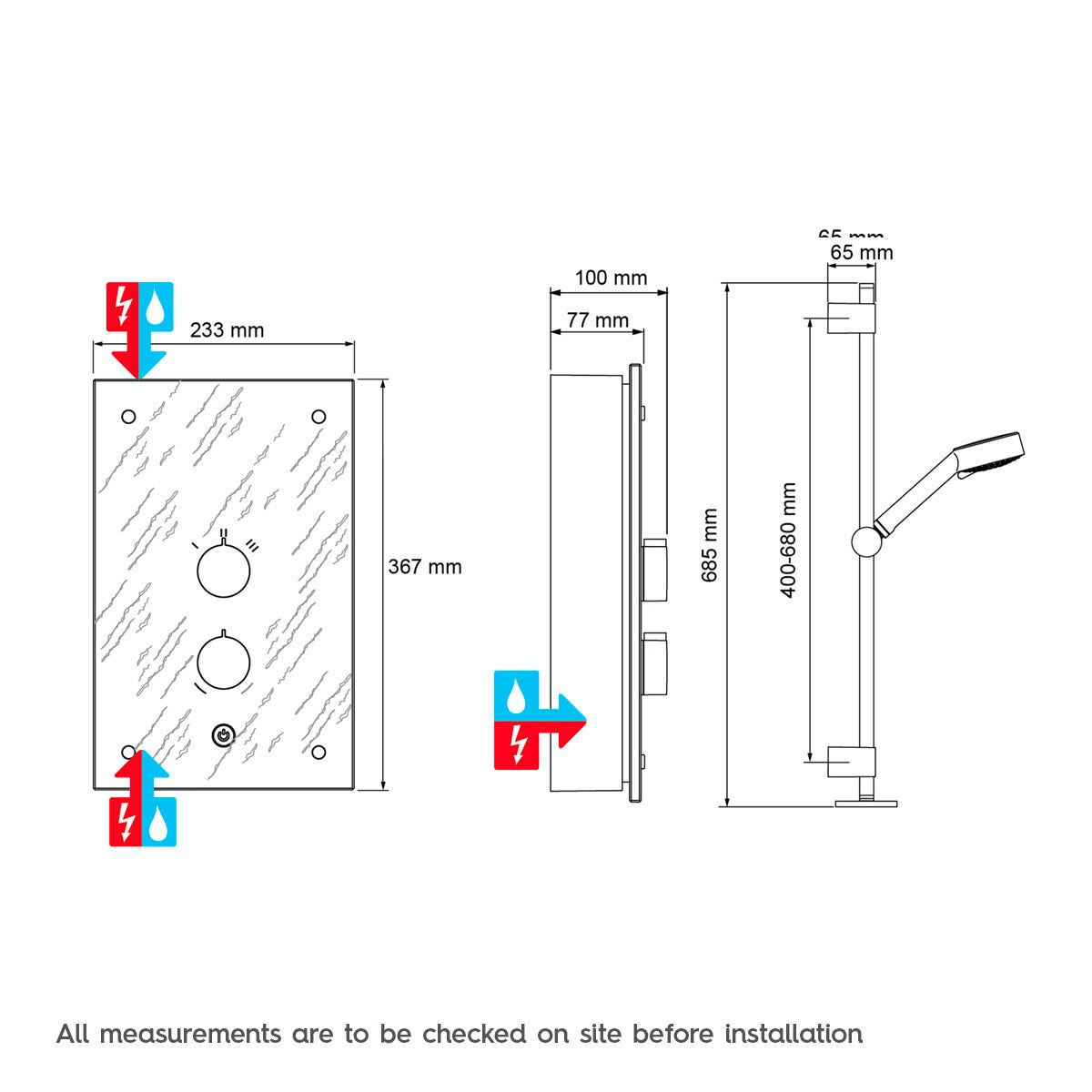 Dimensions for Mira Galena 9.8kw electric shower slate