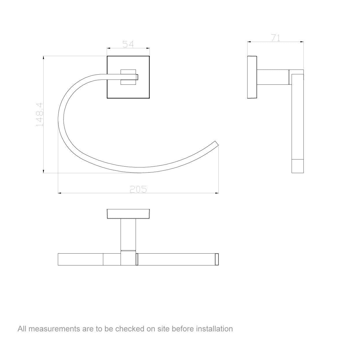 Dimensions for Orchard Flex towel ring