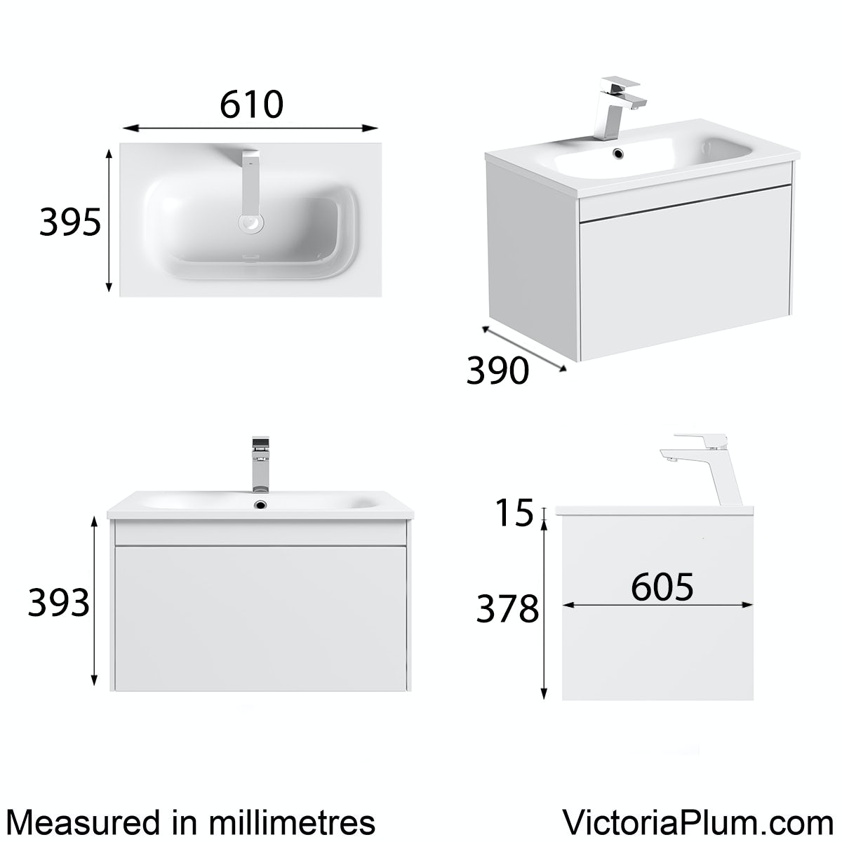 Dimensions for Mode Austin white wall hung vanity unit and stone basin 600mm