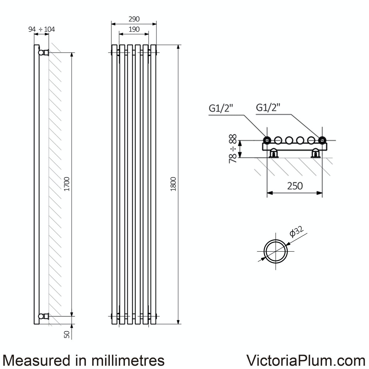 Dimensions for Terma Tune matt nickel single vertical radiator 1800 x 290