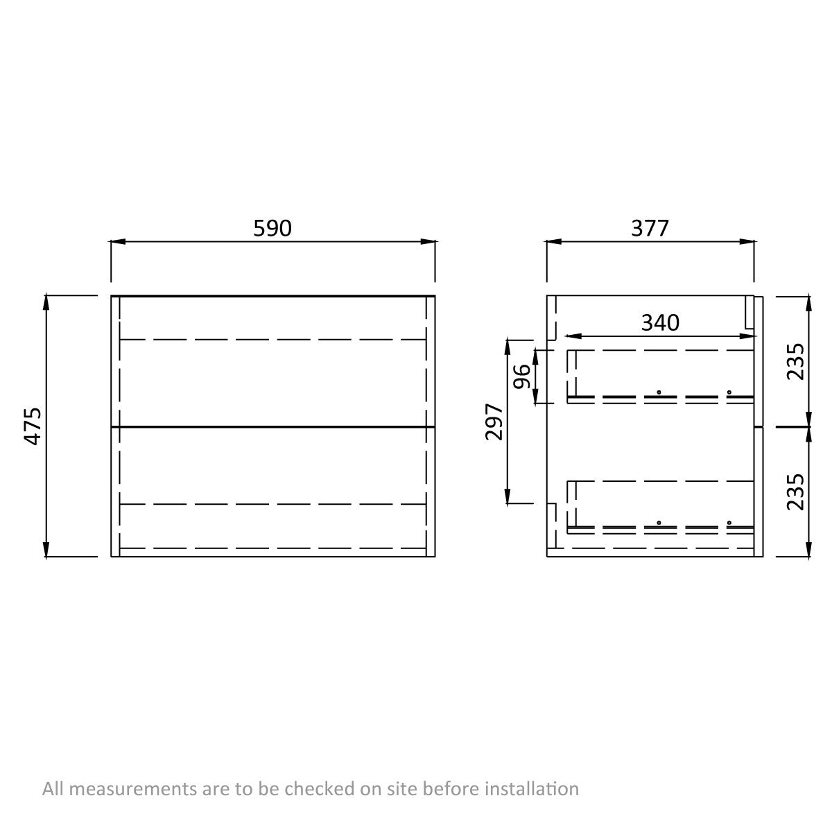 Dimensions for Arden walnut wall hung vanity unit 600mm with basin