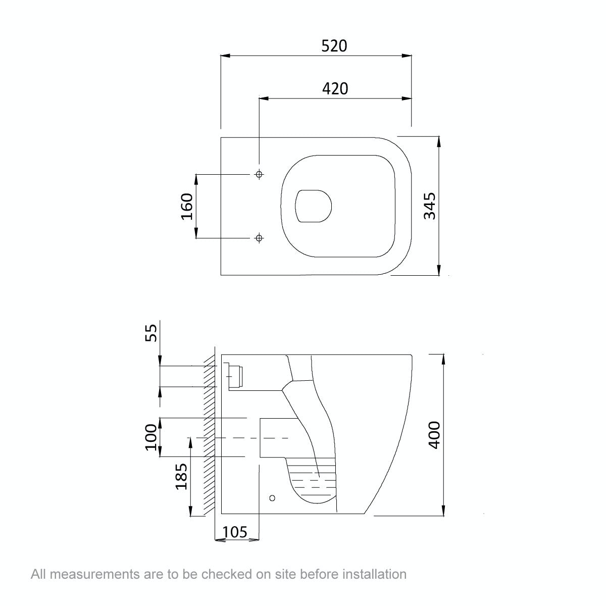Dimensions for Mode Ellis back to wall toilet inc soft close seat