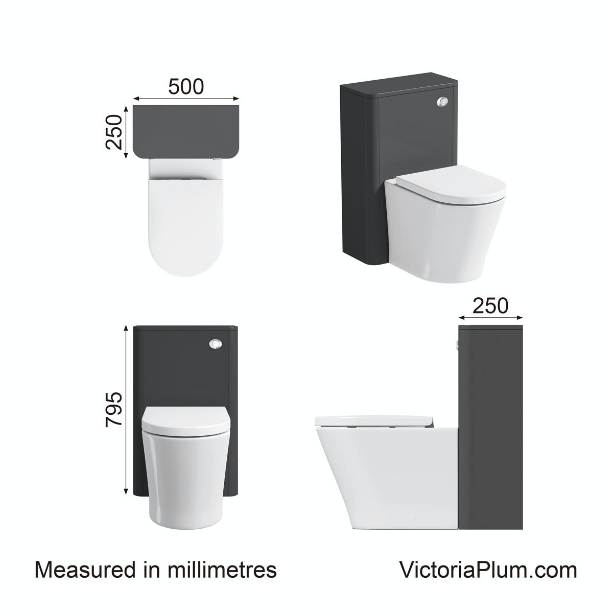 Dimensions for Mode Carter pebble grey back to wall toilet unit
