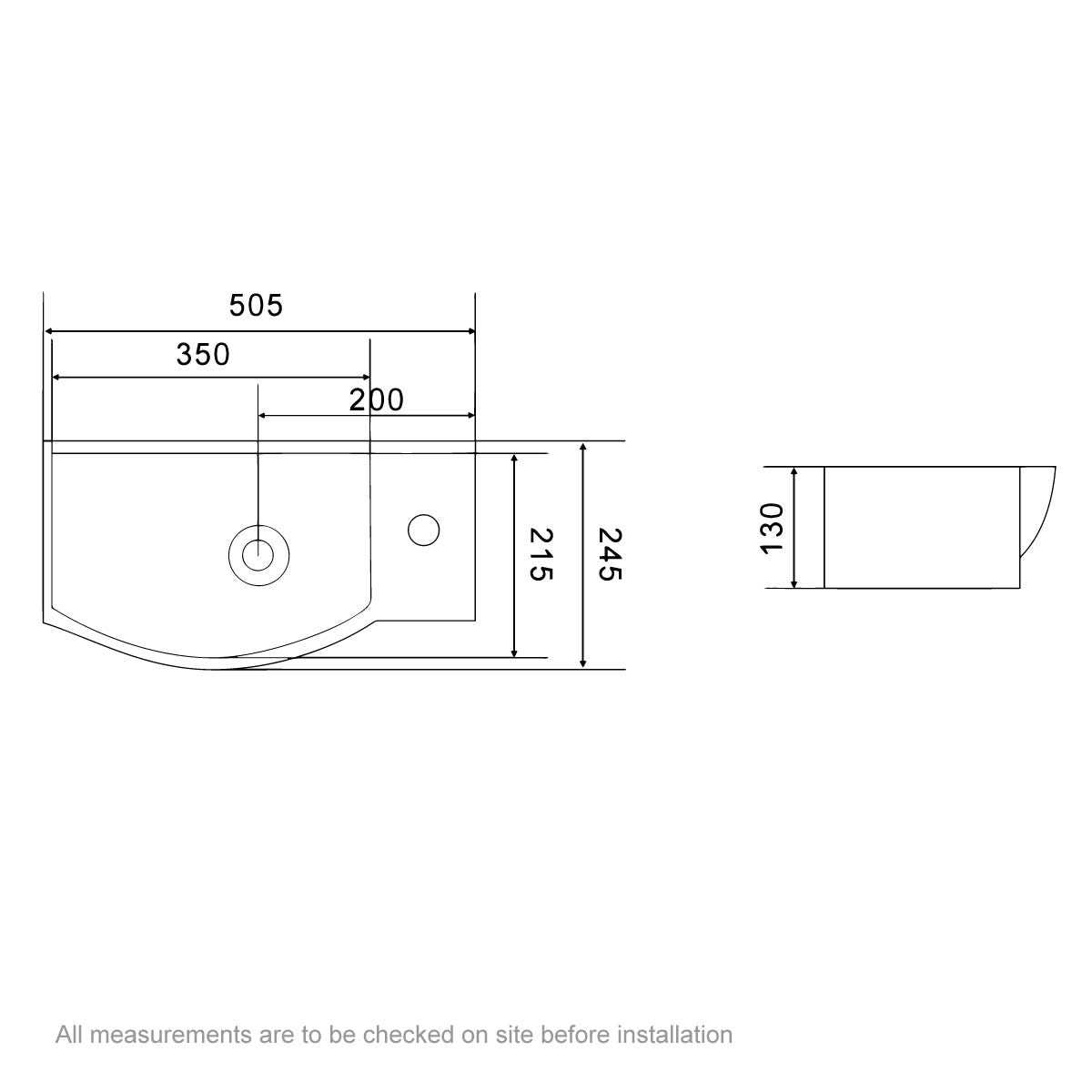 Dimensions for Orchard Constance 1 tap hole basin 505mm