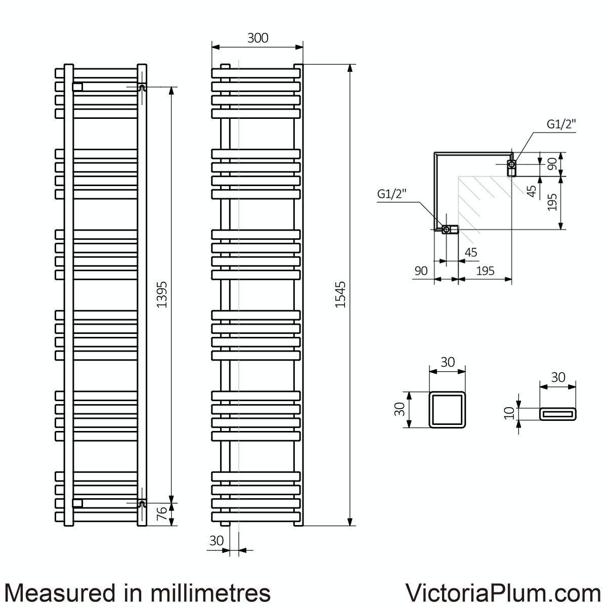 Dimensions for Terma Outcorner modern grey heated towel rail 1545 x 300