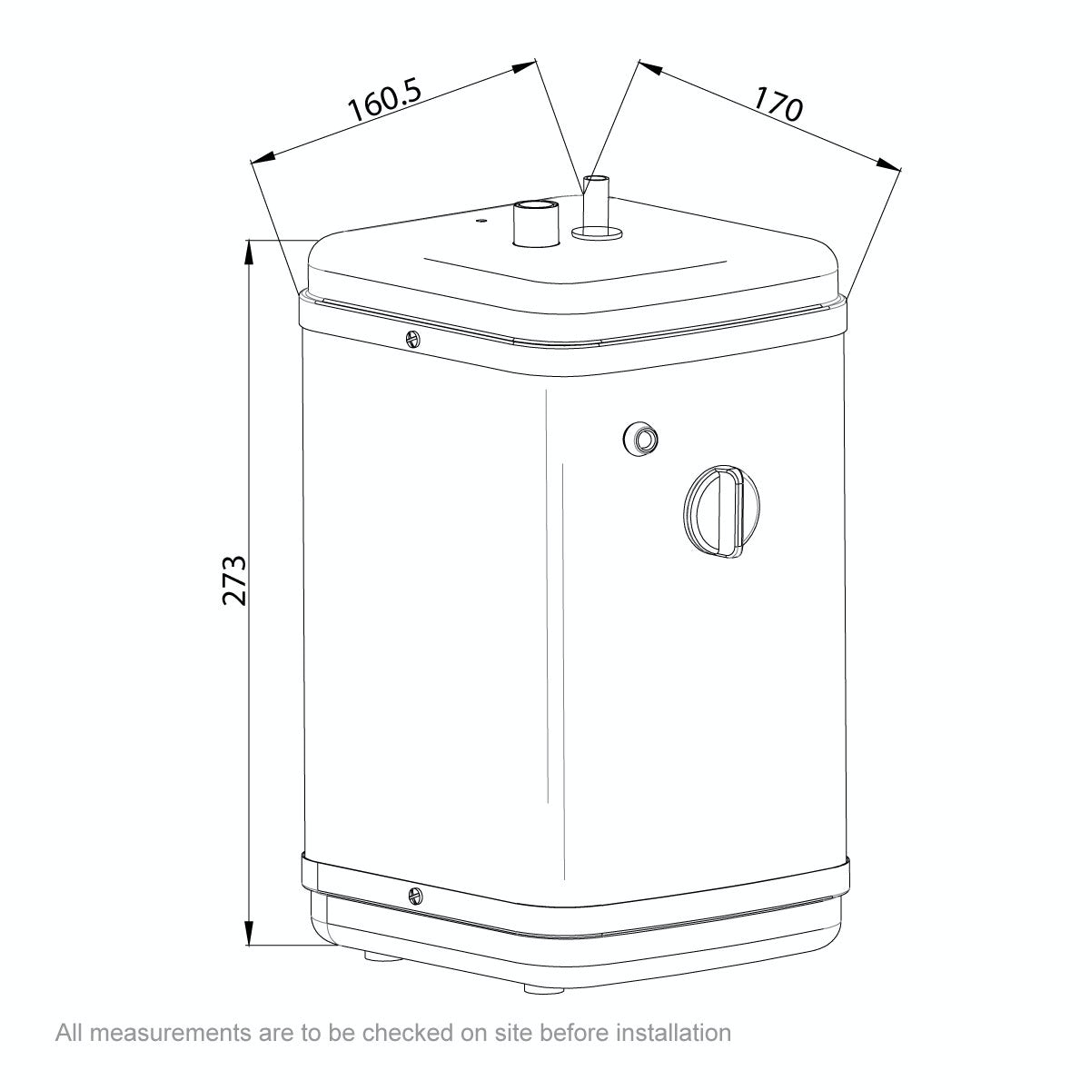 Dimensions for Ready Hot One way boiling water tap with manual boiler