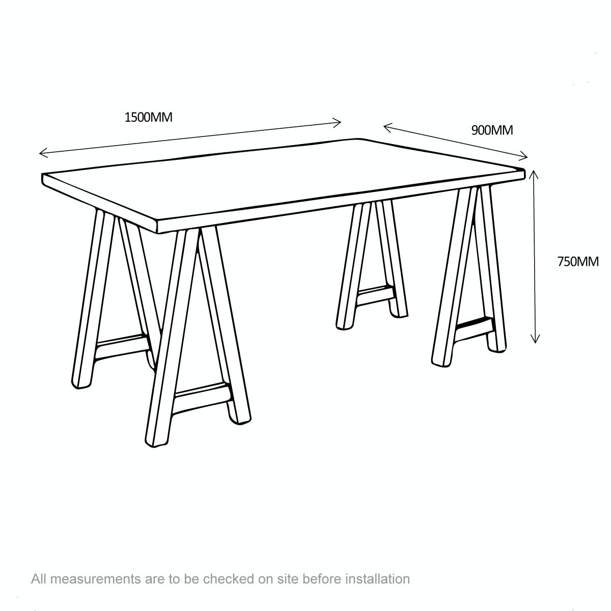 Dimensions for Hudson oak trestle table