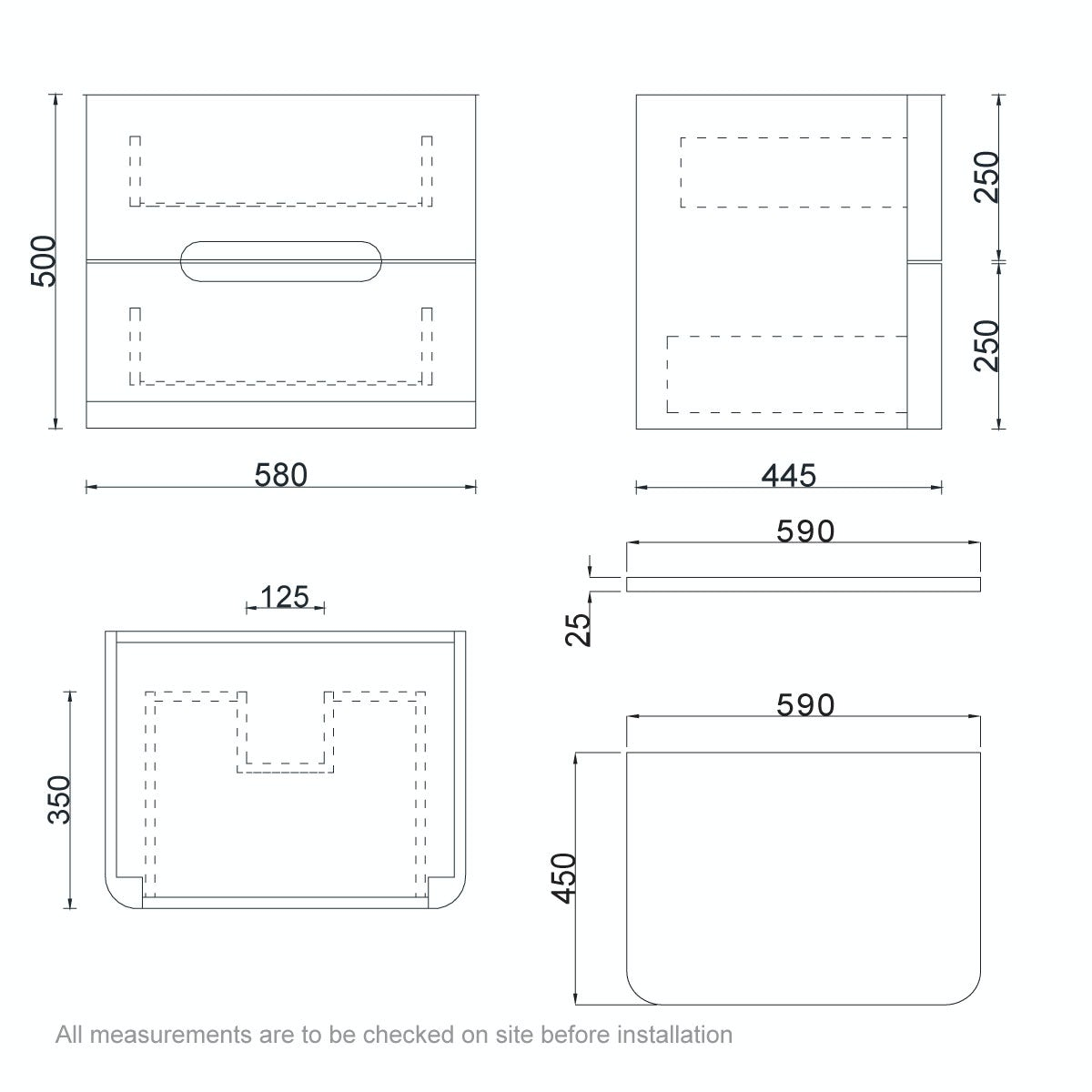 Dimensions for Mode Ellis white wall hung vanity drawer unit and countertop 600mm