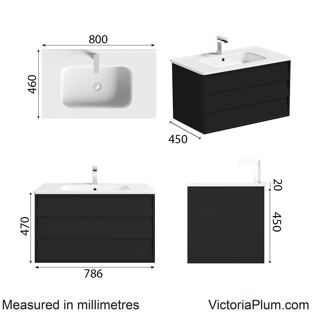 Dimensions for Mode Cooper anthracite wall hung vanity unit and basin 800mm