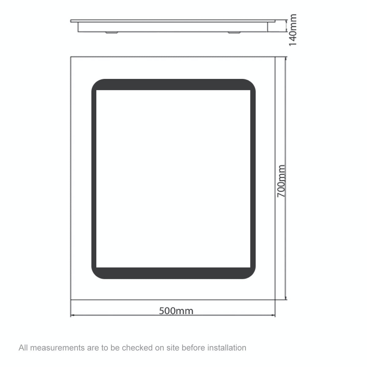 Dimensions for Mode Novus LED dual lit mirror cabinet