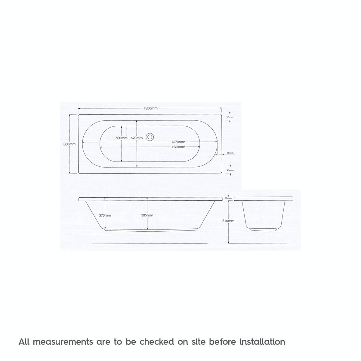 Dimensions for Mode Islington double end 6 Jet whirlpool bath 1800 x 800