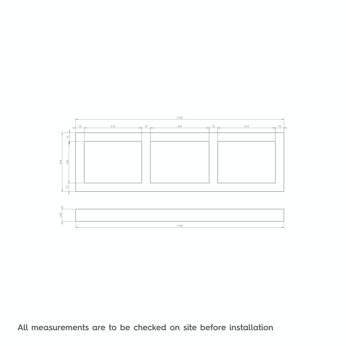 Dimensions for The Bath Co. Camberley white wooden straight bath front panel 1700mm
