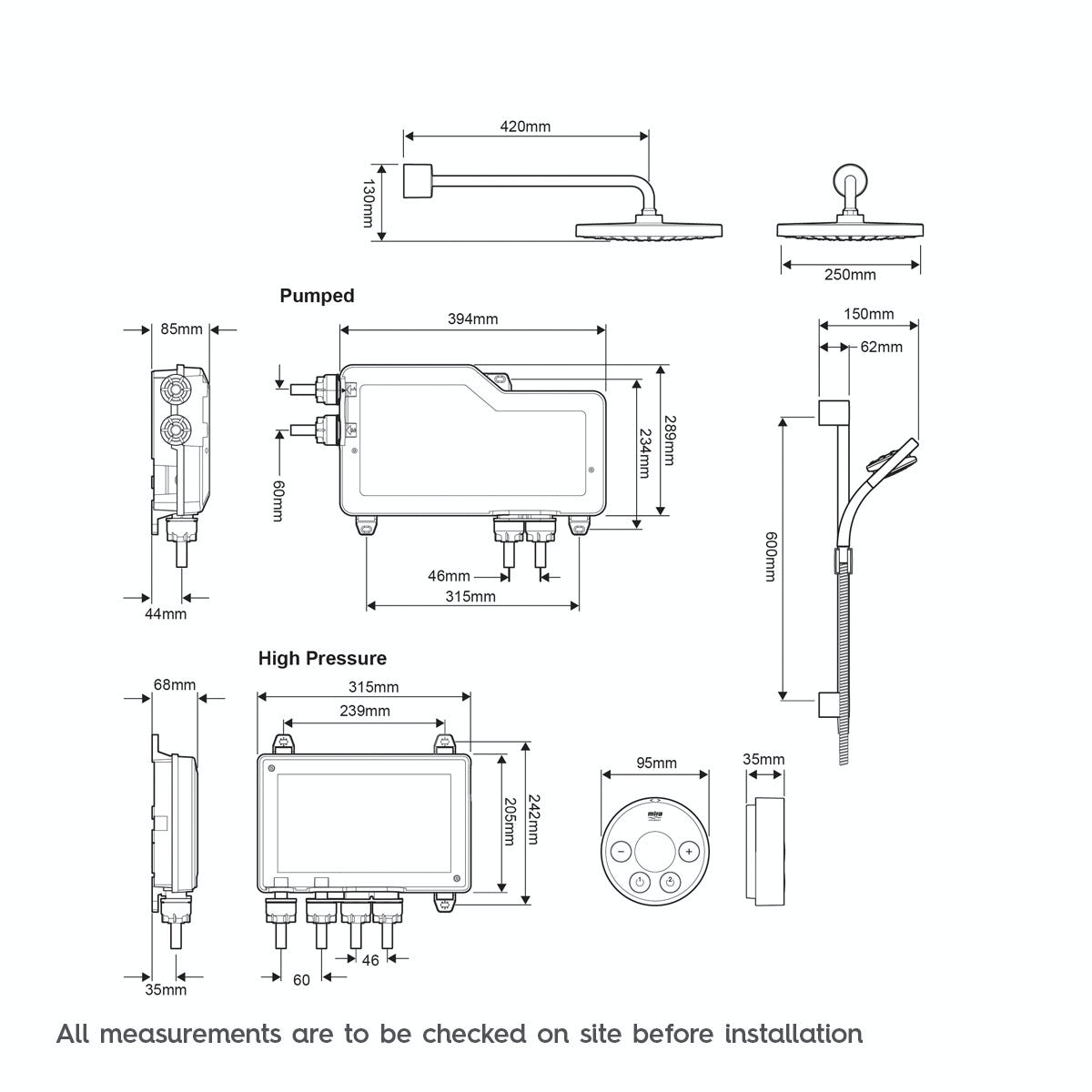 Dimensions for Mira Platinum dual rear fed digital shower pumped