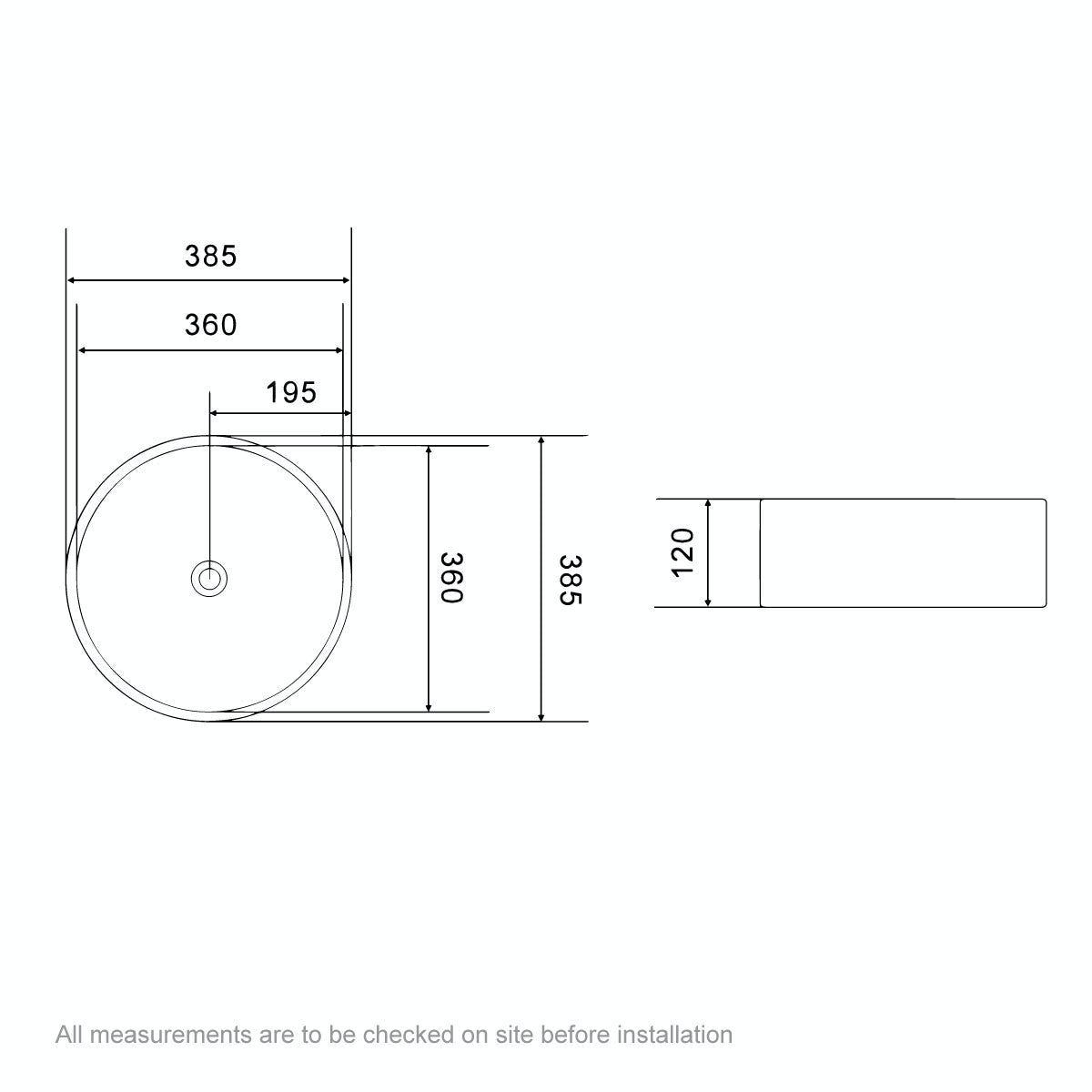 Dimensions for Orchard Calhoun counter top basin 385mm