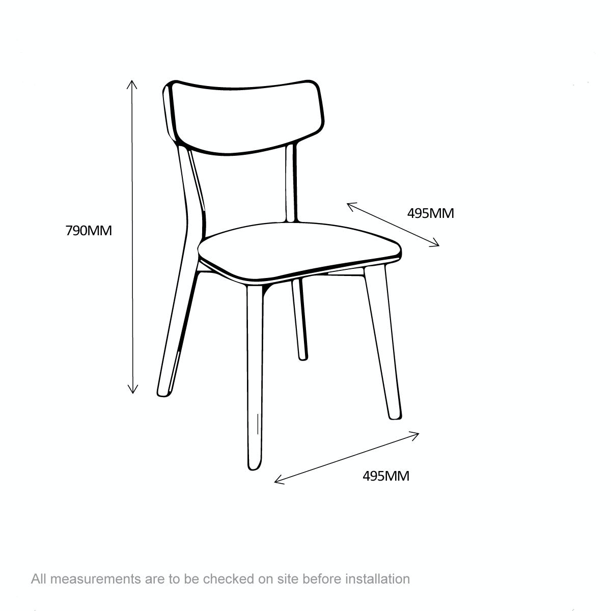 Dimensions for Ernest oak and green pair of dining chairs