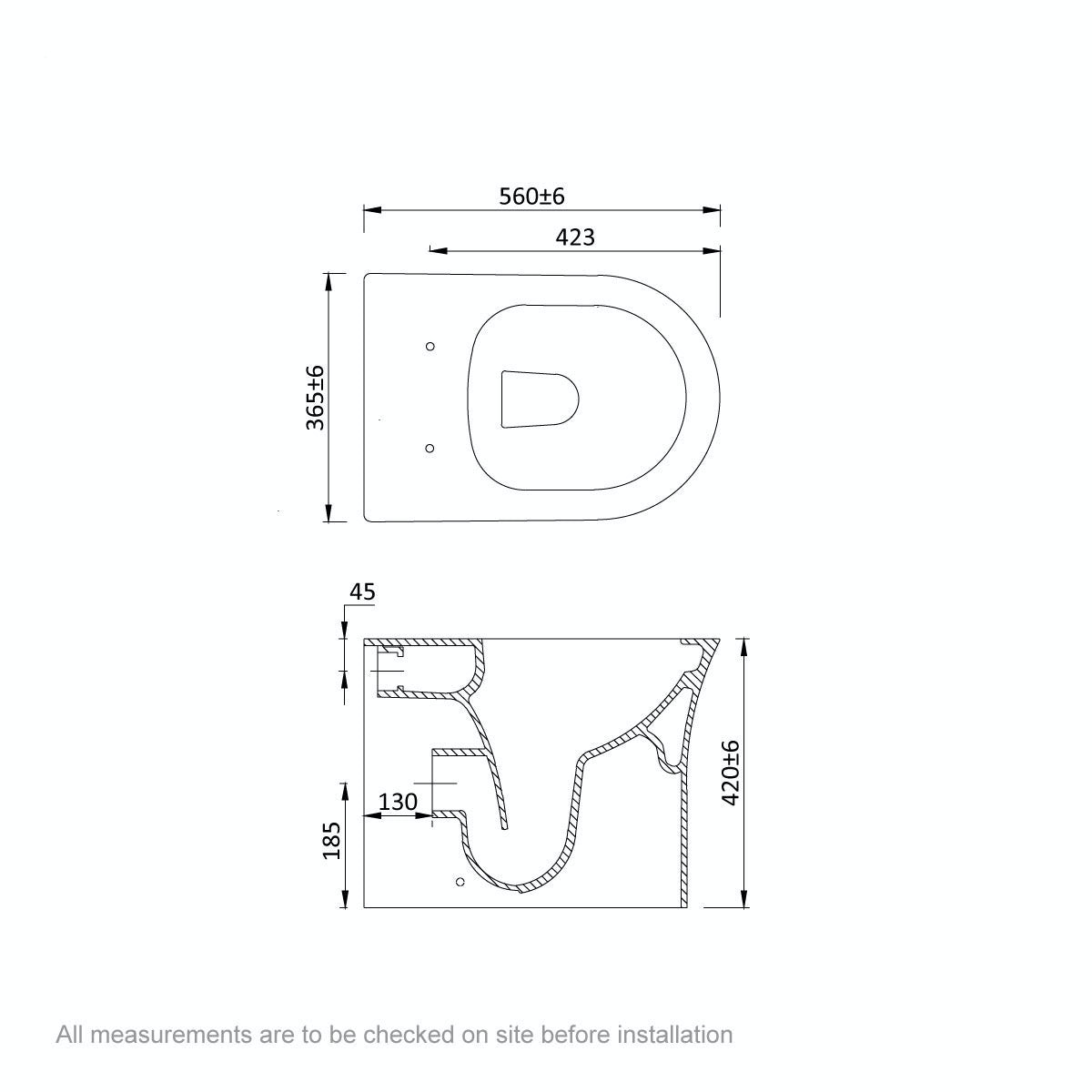 Dimensions for Mode Hardy rimless back to wall toilet with slimline soft close seat