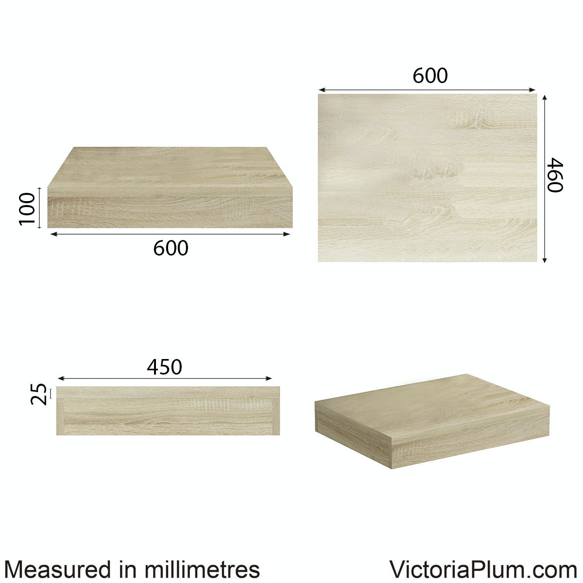 Dimensions for Mode Orion oak wall hung countertop basin shelf