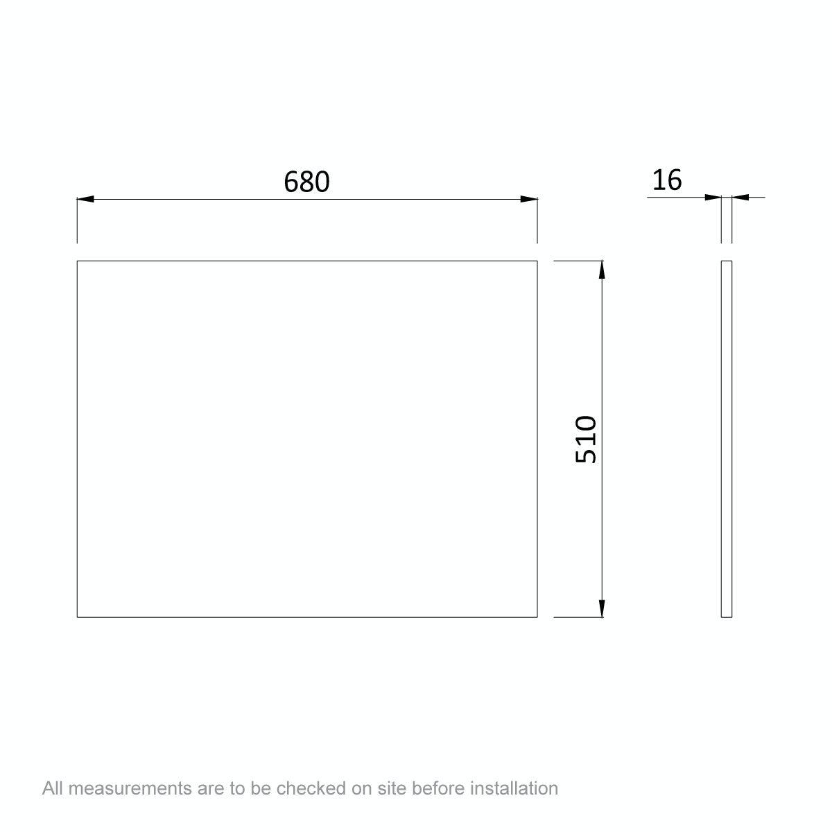 Dimensions for Orchard Wye oak shower bath end panel 680mm