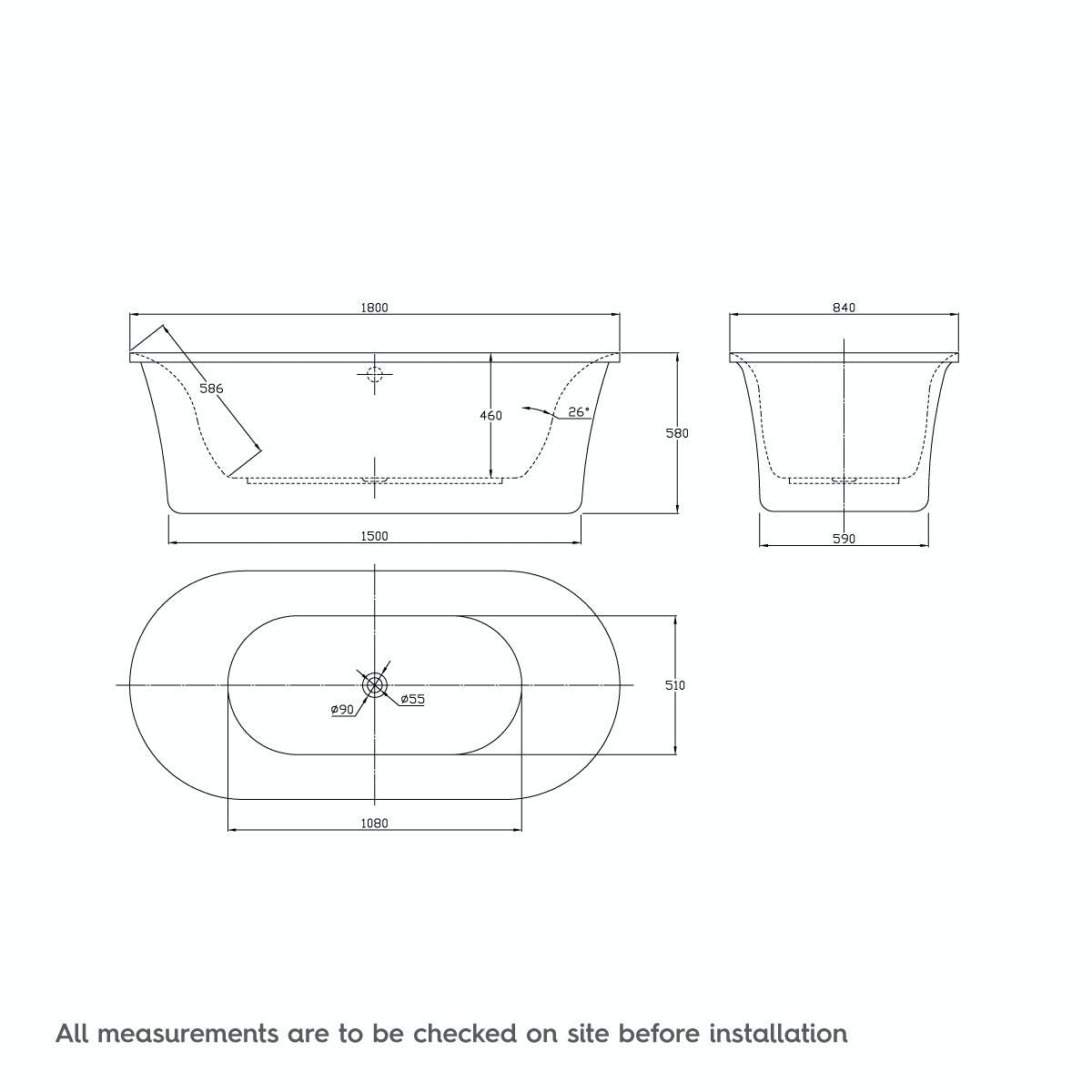 Dimensions for Sally Freestanding Bath