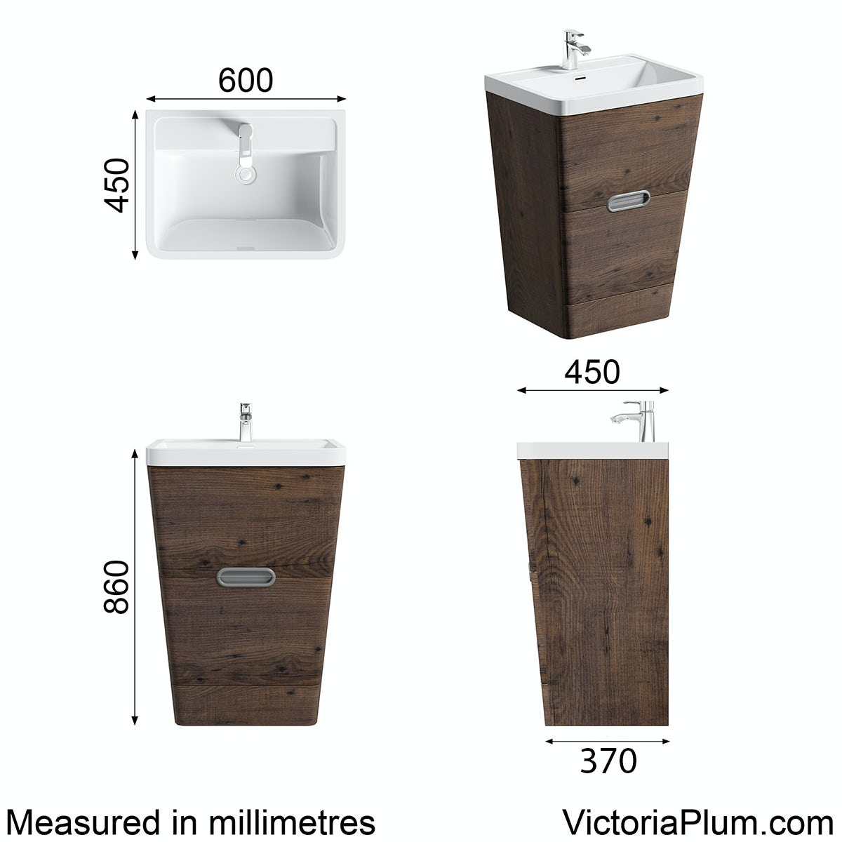 Dimensions for Mode Sherwood chestnut floor standing vanity unit and resin basin 600mm