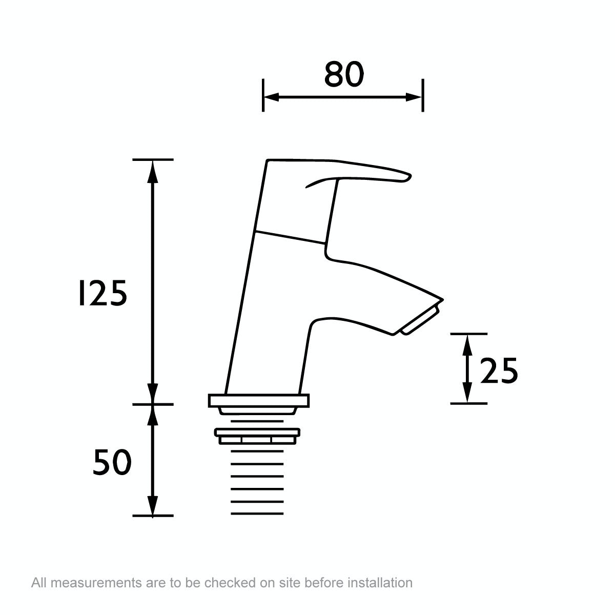 Dimensions for Bristan Smile bath taps