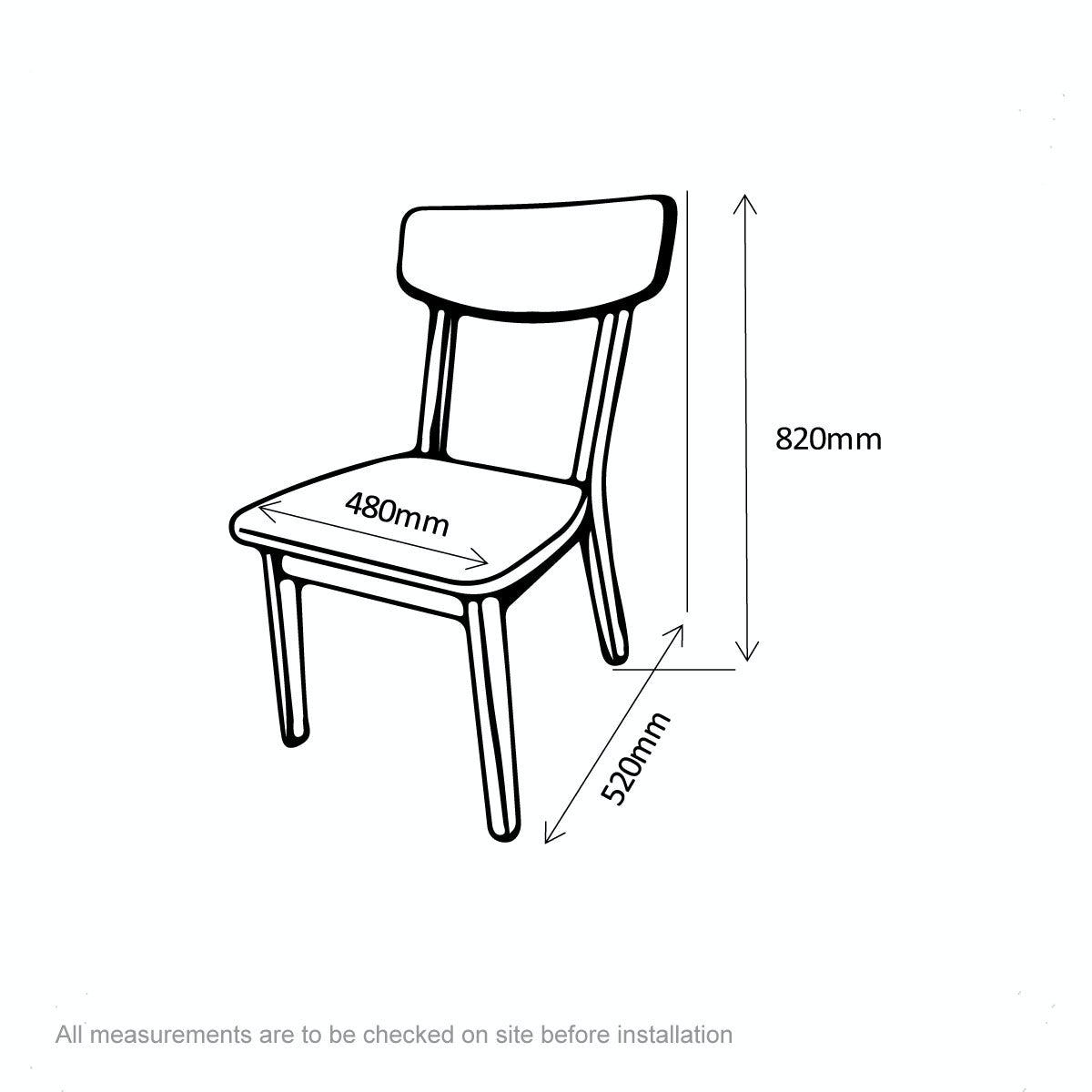 Dimensions for Archer pair of dining chairs