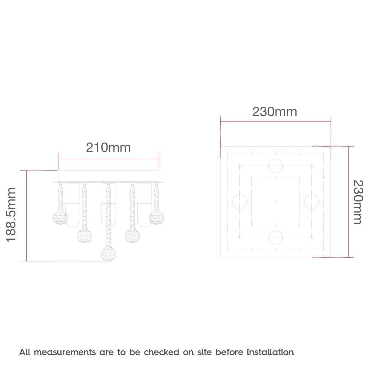 Dimensions for Forum ora square flush bathroom ceiling light