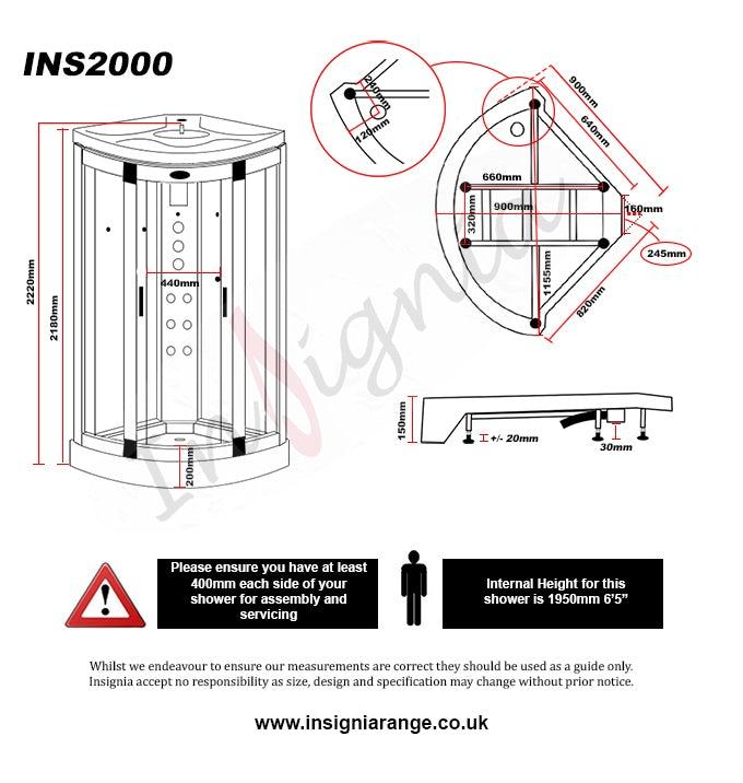 Dimensions for Insignia bow quadrant hydro-massage shower cabin 900 x 900