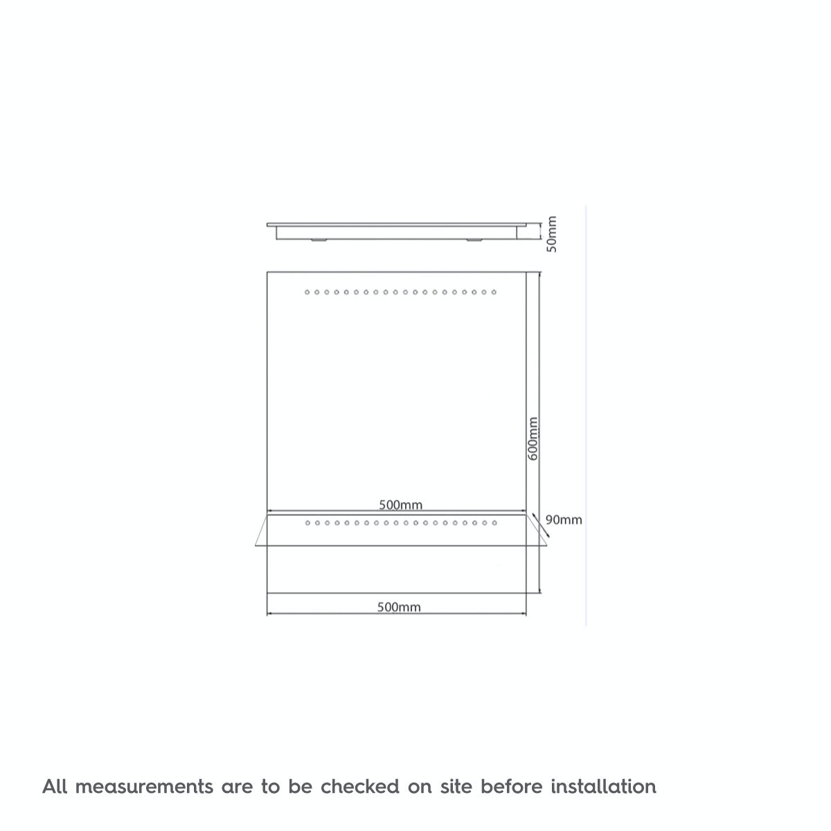 Dimensions for Mode Iridonia LED shelf mirror