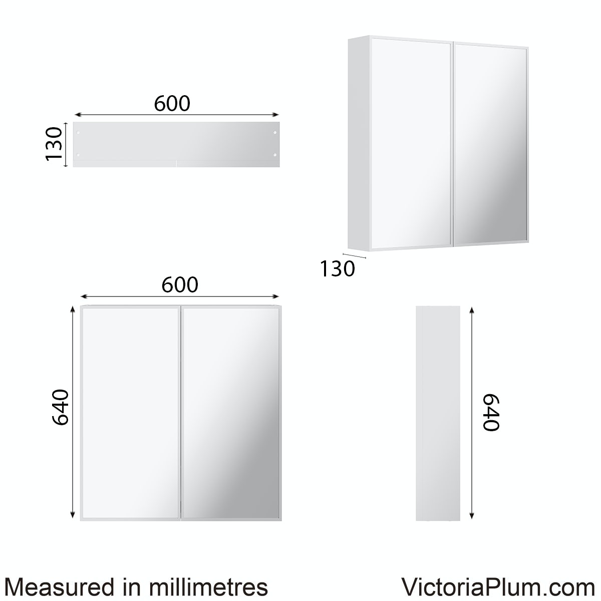 Dimensions for Mode Breuer mirror cabinet 640 x 600