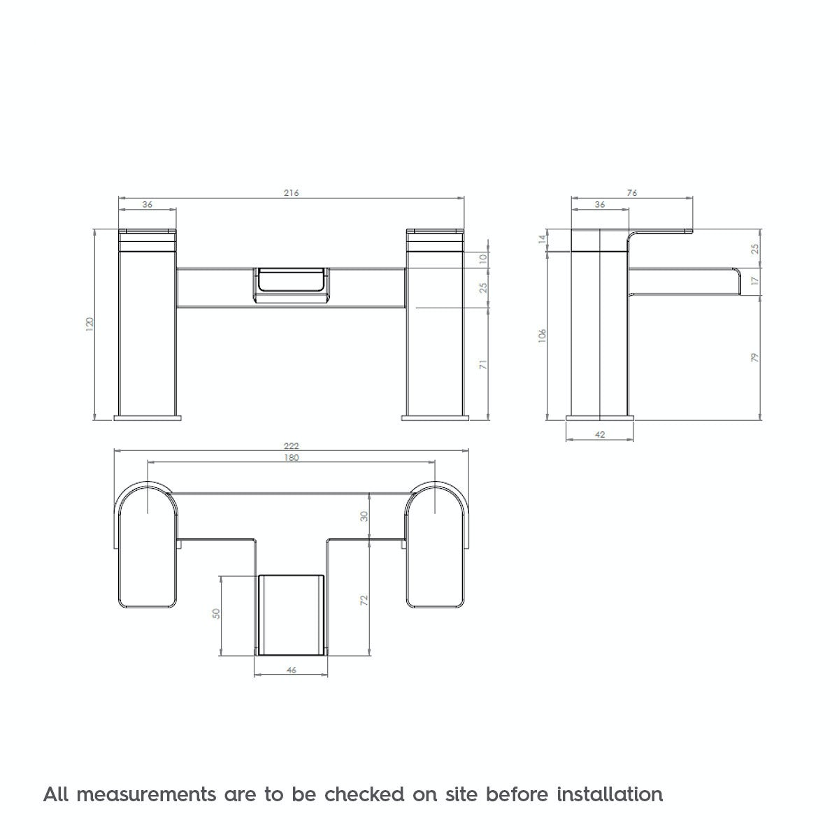 Dimensions for Mode Cooper bath mixer tap