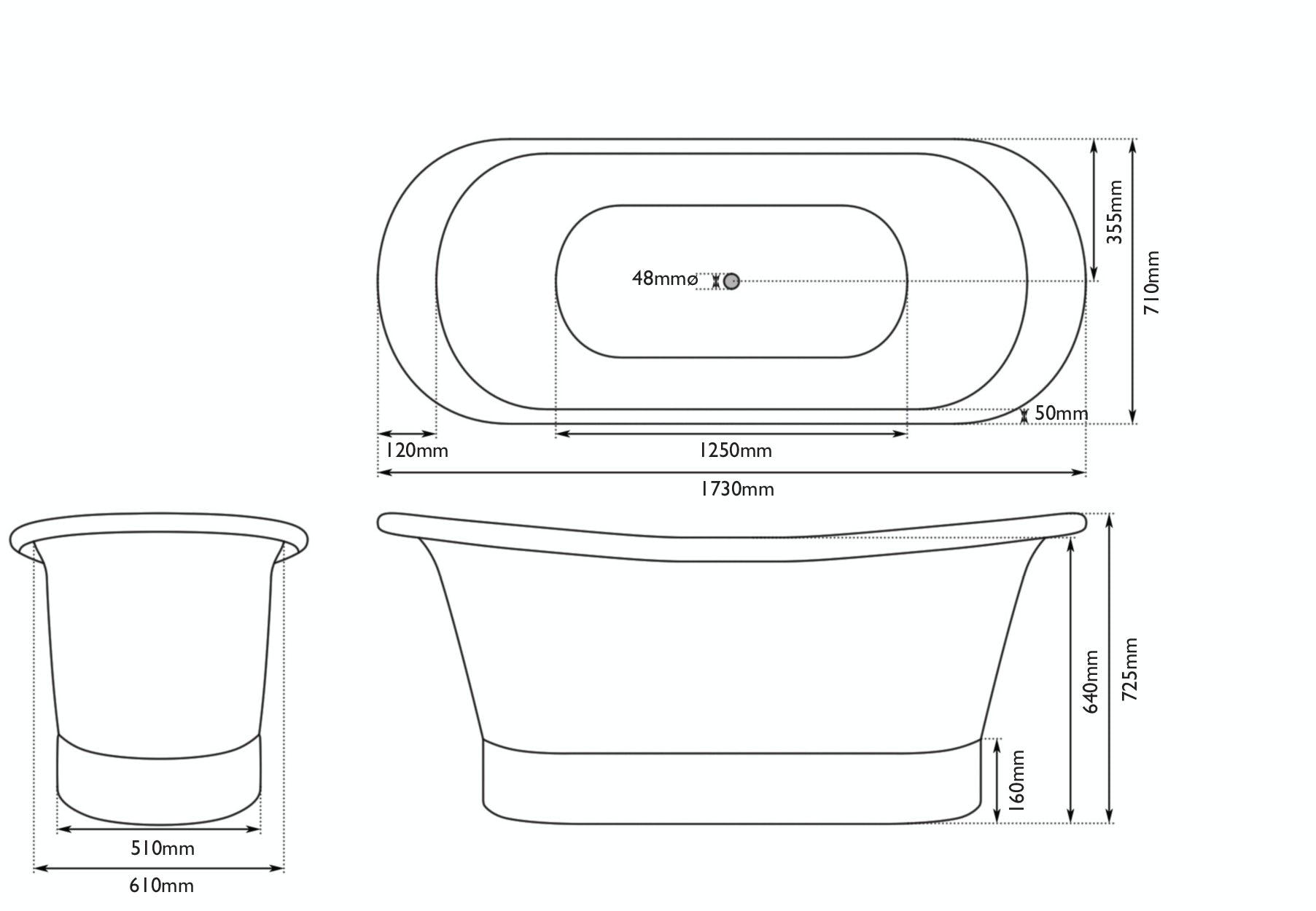 Dimensions for Belle de Louvain Rembrandt copper and nickel bath
