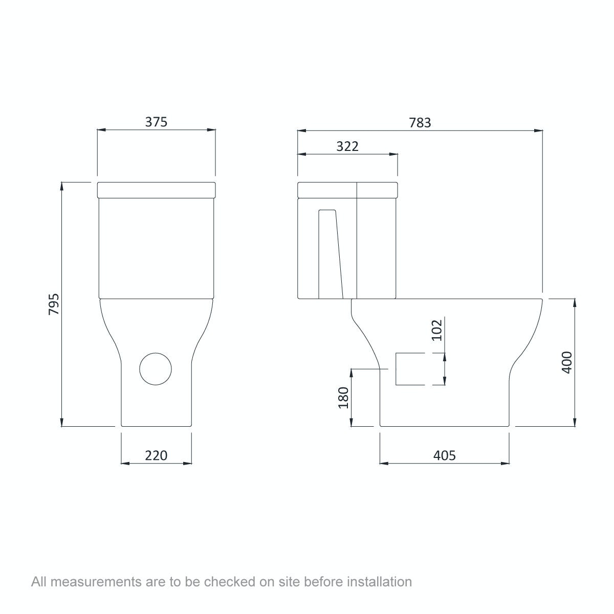 Dimensions for Orchard Derwent square compact corner close coupled toilet with slimline soft close toilet seat