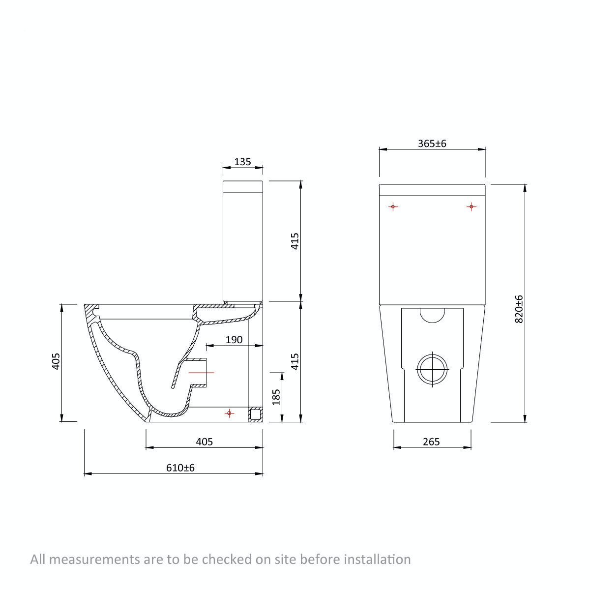 Dimensions for Mode Harrison rimless close coupled toilet with soft close seat